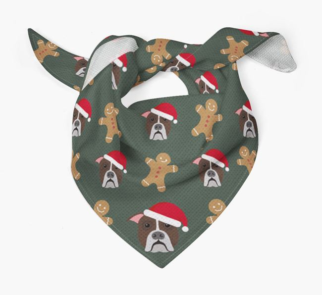 Gingerbread Pattern Christmas Bandana for your American Bulldog