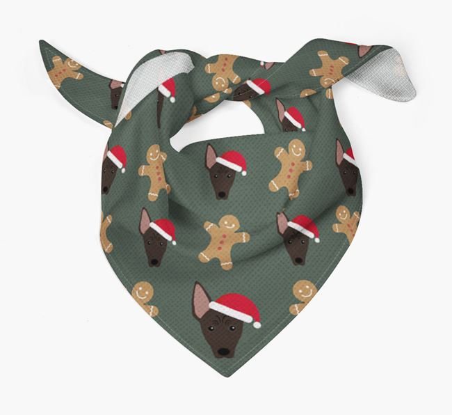 Gingerbread Pattern Christmas Bandana for your American Hairless Terrier