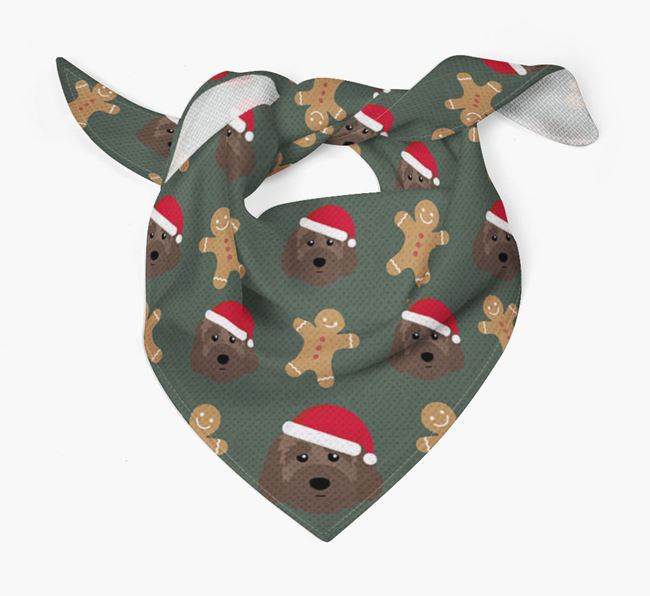 Gingerbread Pattern Christmas Bandana for your Australian Labradoodle