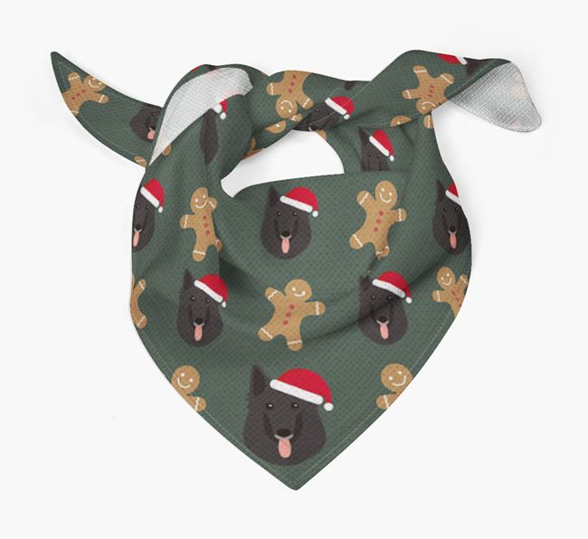 Gingerbread Pattern Christmas Bandana for your Belgian Groenendael