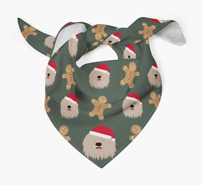 Gingerbread Pattern Christmas Bandana for your Bergamasco