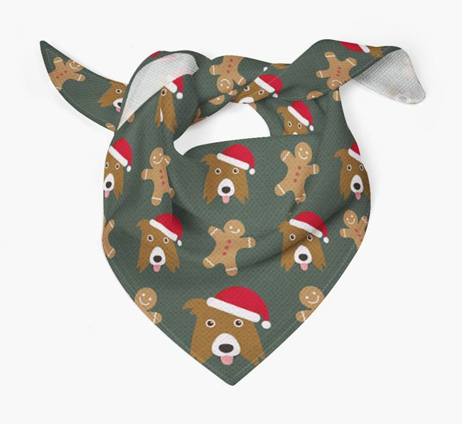 Gingerbread Pattern Christmas Bandana for your Border Collie