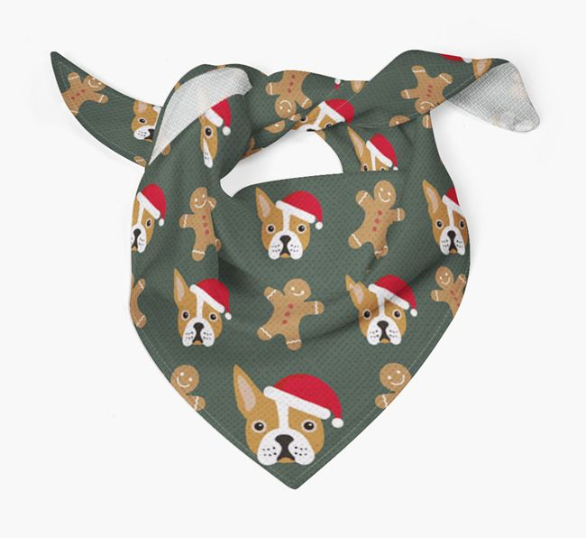 Gingerbread Pattern Christmas Bandana for your Boston Terrier