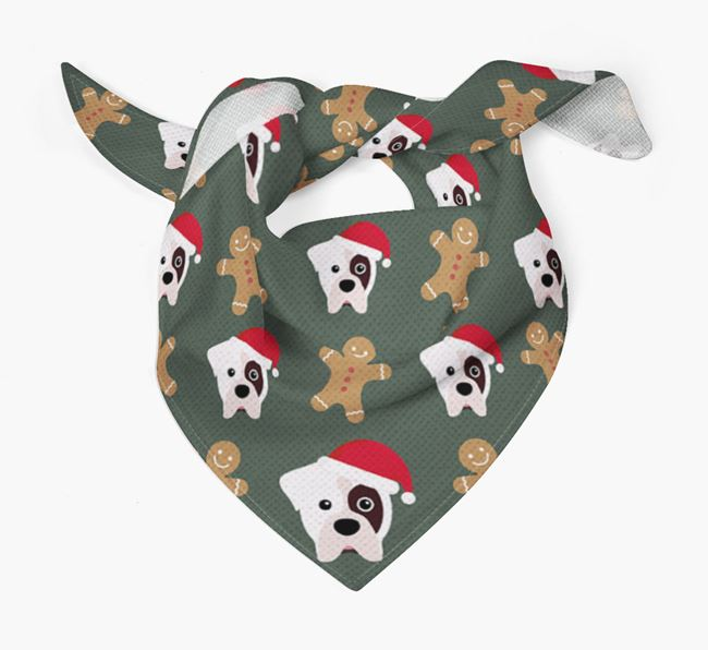 Gingerbread Pattern Christmas Bandana for your Boxer
