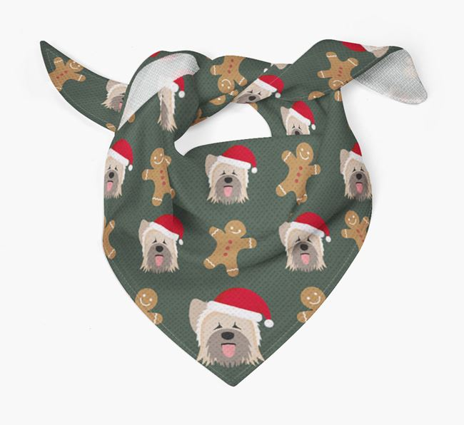 Gingerbread Pattern Christmas Bandana for your Briard