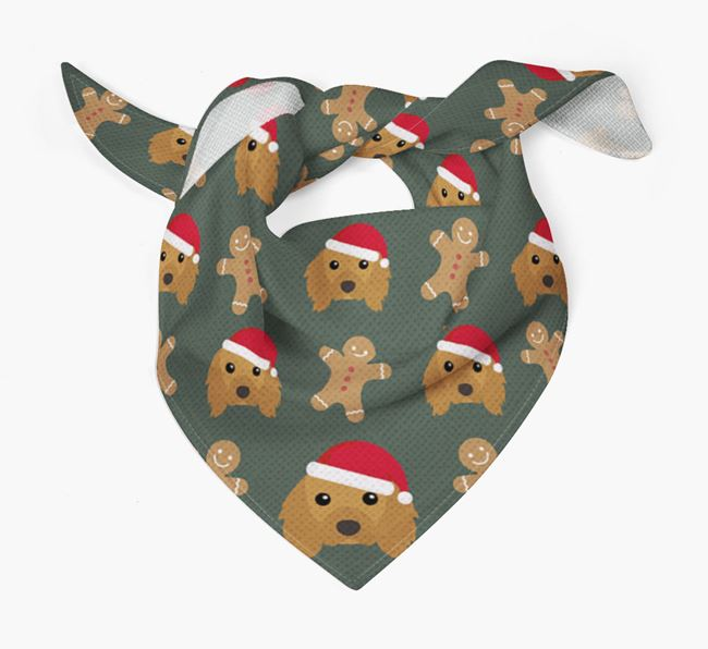 Gingerbread Pattern Christmas Bandana for your Cavalier King Charles Spaniel