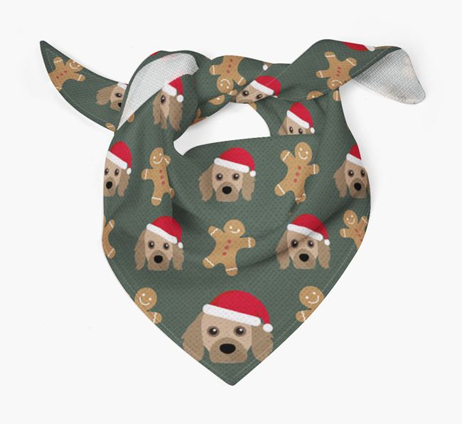 Gingerbread Pattern Christmas Bandana for your Cavapom