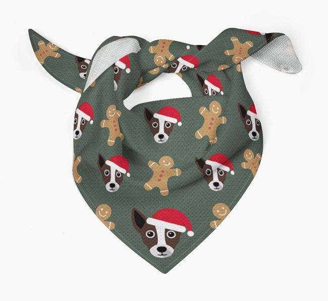 Gingerbread Pattern Christmas Bandana for your Chi Staffy Bull