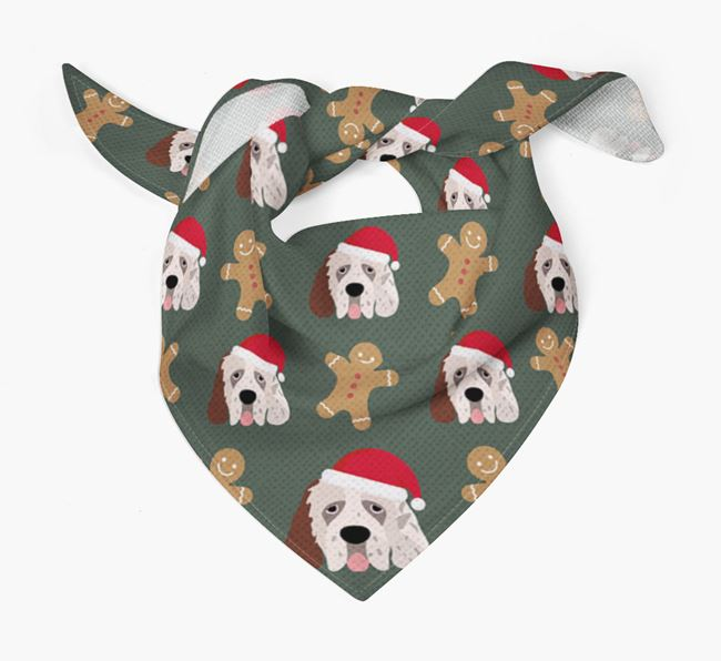 Gingerbread Pattern Christmas Bandana for your Clumber Spaniel