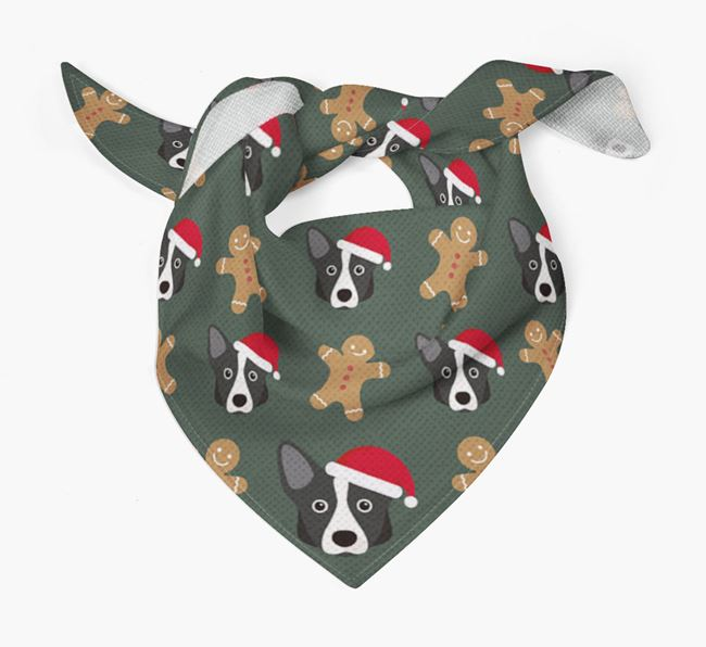 Gingerbread Pattern Christmas Bandana for your Corgi