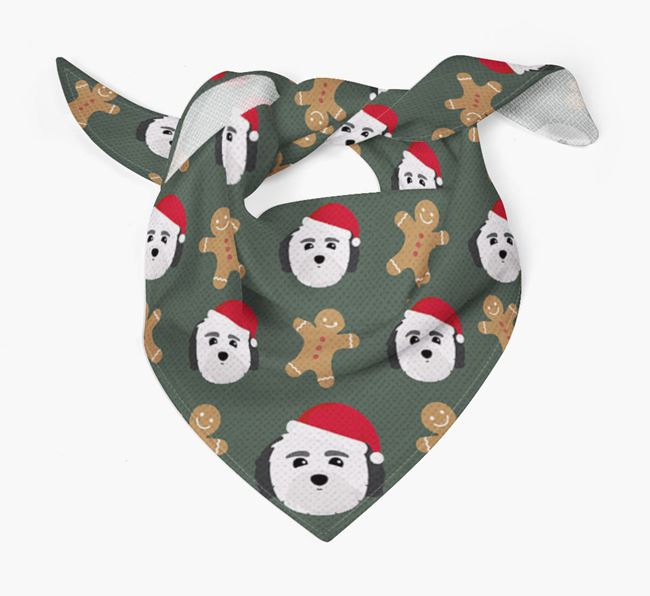 Gingerbread Pattern Christmas Bandana for your Coton De Tulear