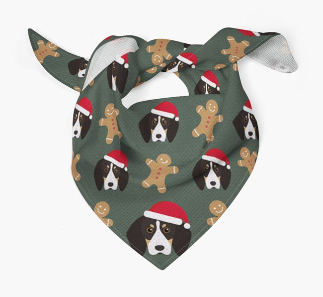 Gingerbread Pattern Christmas Bandana for your English Coonhound
