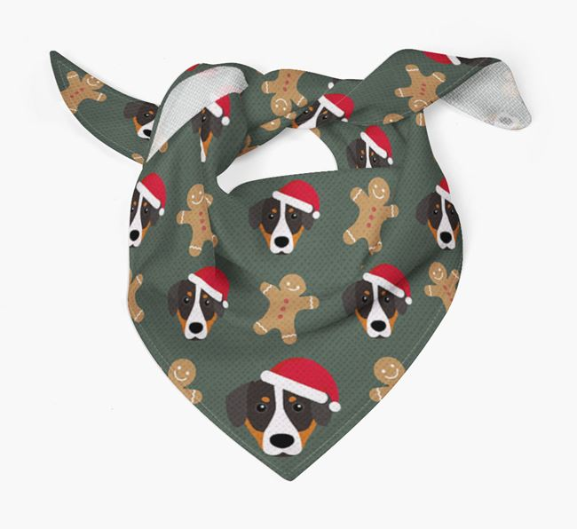 Gingerbread Pattern Christmas Bandana for your Entlebucher Mountain Dog