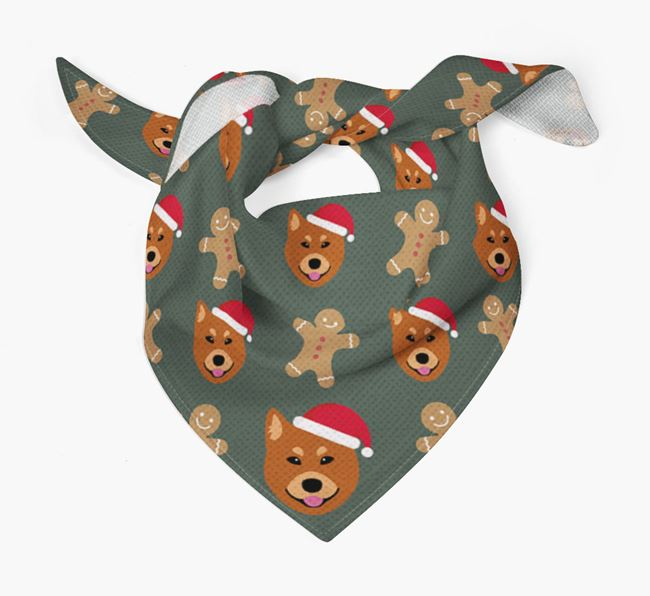 Gingerbread Pattern Christmas Bandana for your Finnish Spitz
