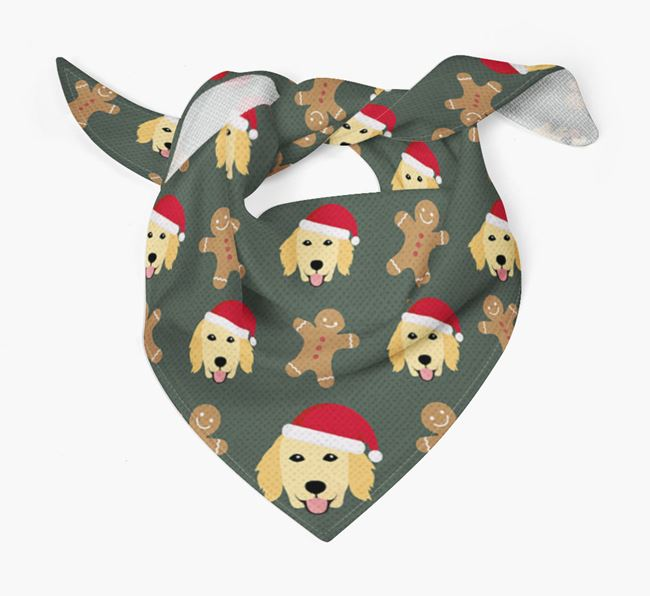 Gingerbread Pattern Christmas Bandana for your Flat-Coated Retriever