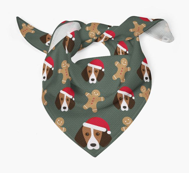 Gingerbread Pattern Christmas Bandana for your Foxhound