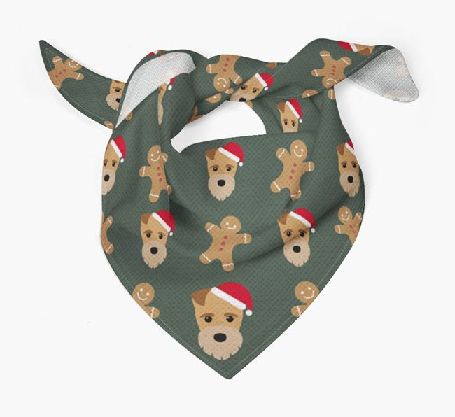 Gingerbread Pattern Christmas Bandana for your Fox Terrier