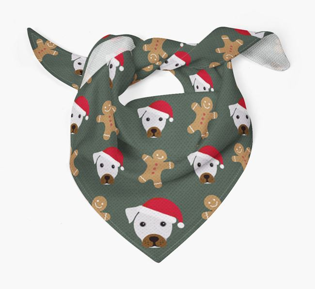 Gingerbread Pattern Christmas Bandana for your French Bull Jack