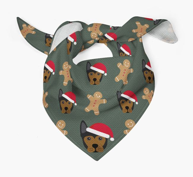 Gingerbread Pattern Christmas Bandana for your Frenchie Staff