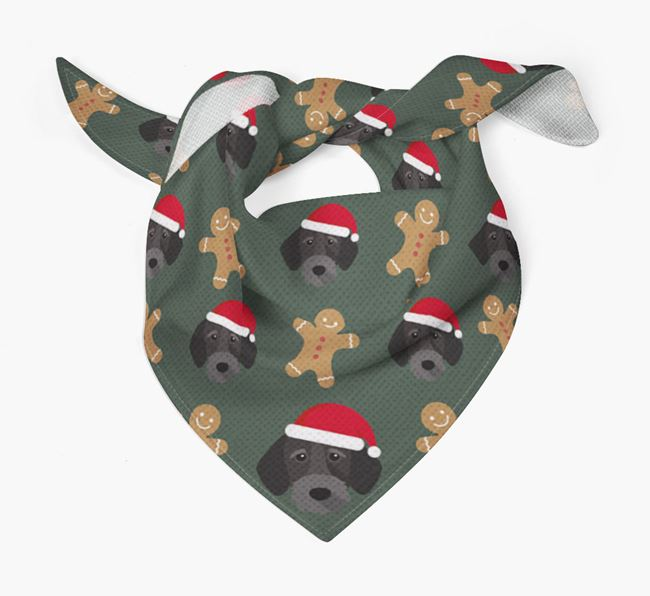 Gingerbread Pattern Christmas Bandana for your German Wirehaired Pointer