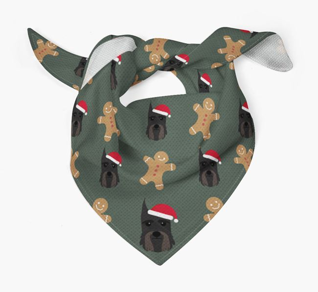 Gingerbread Pattern Christmas Bandana for your Giant Schnauzer
