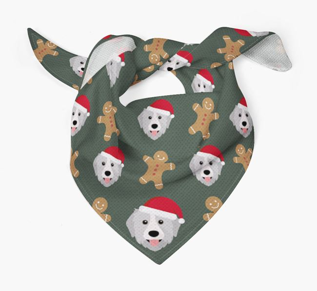 Gingerbread Pattern Christmas Bandana for your Great Pyrenees