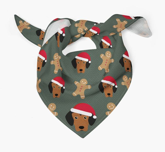 Gingerbread Pattern Christmas Bandana for your Greek Harehound