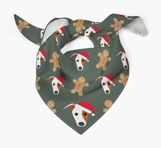 Gingerbread Pattern Christmas Bandana for your Greyhound