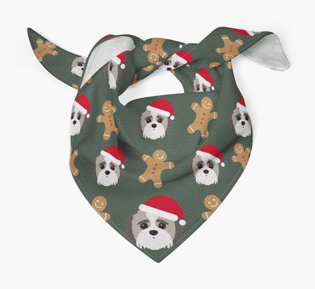 Gingerbread Pattern Christmas Bandana for your Jack-A-Poo