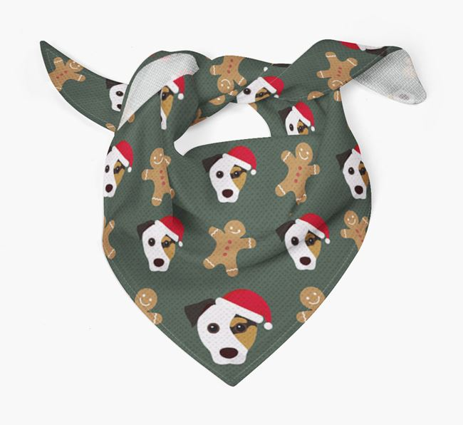Gingerbread Pattern Christmas Bandana for your Jack Russell Terrier