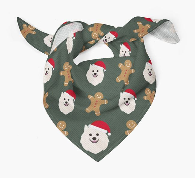 Gingerbread Pattern Christmas Bandana for your Japanese Spitz