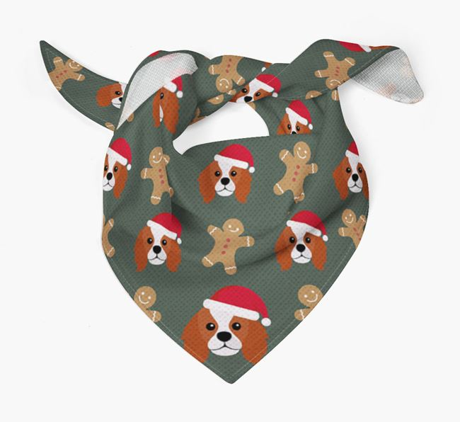 Gingerbread Pattern Christmas Bandana for your King Charles Spaniel