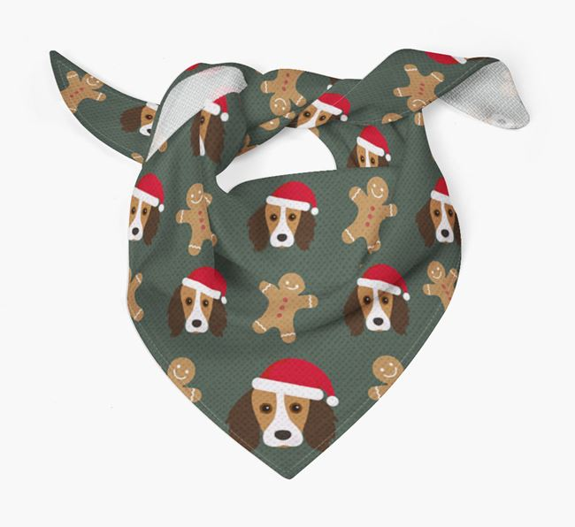 Gingerbread Pattern Christmas Bandana for your Kooikerhondje