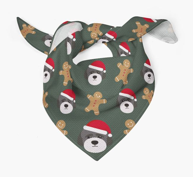 Gingerbread Pattern Christmas Bandana for your Lagotto Romagnolo