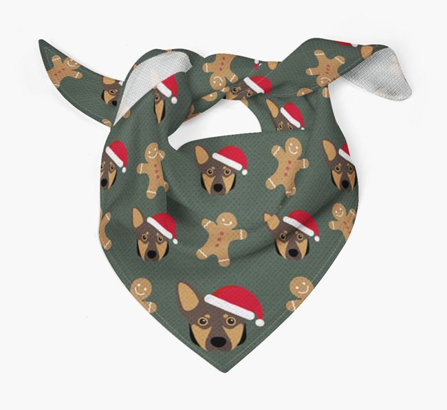Gingerbread Pattern Christmas Bandana for your Lancashire Heeler