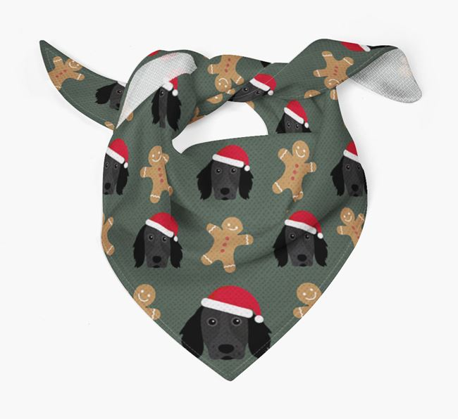 Gingerbread Pattern Christmas Bandana for your Large Munsterlander