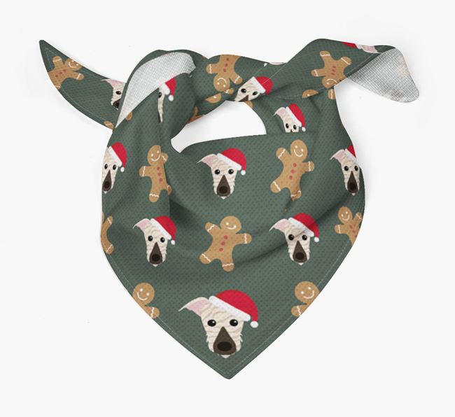 Gingerbread Pattern Christmas Bandana for your Lurcher
