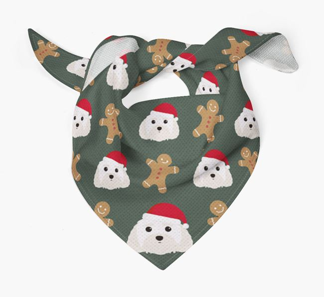 Gingerbread Pattern Christmas Bandana for your Malti-Poo