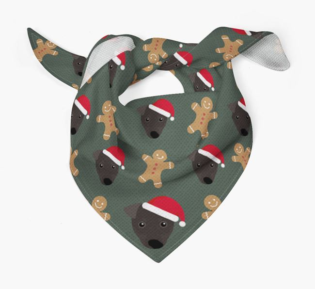 Gingerbread Pattern Christmas Bandana for your Manchester Terrier