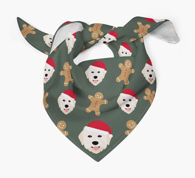 Gingerbread Pattern Christmas Bandana for your Maremma Sheepdog