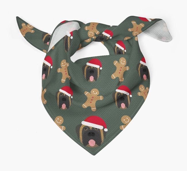Gingerbread Pattern Christmas Bandana for your Mastiff
