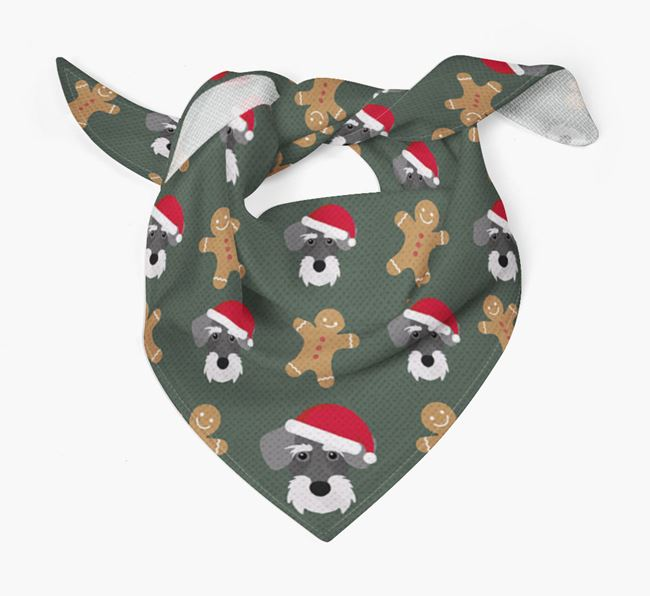 Gingerbread Pattern Christmas Bandana for your Miniature Schnoxie