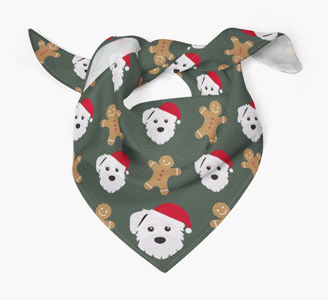 Gingerbread Pattern Christmas Bandana for your Mixed Breed
