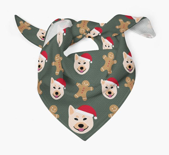 Gingerbread Pattern Christmas Bandana for your Norwegian Buhund