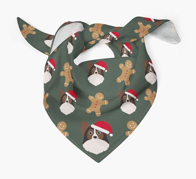 Gingerbread Pattern Christmas Bandana for your Papillon