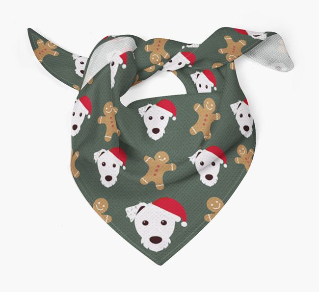 Gingerbread Pattern Christmas Bandana for your Parson Russell Terrier