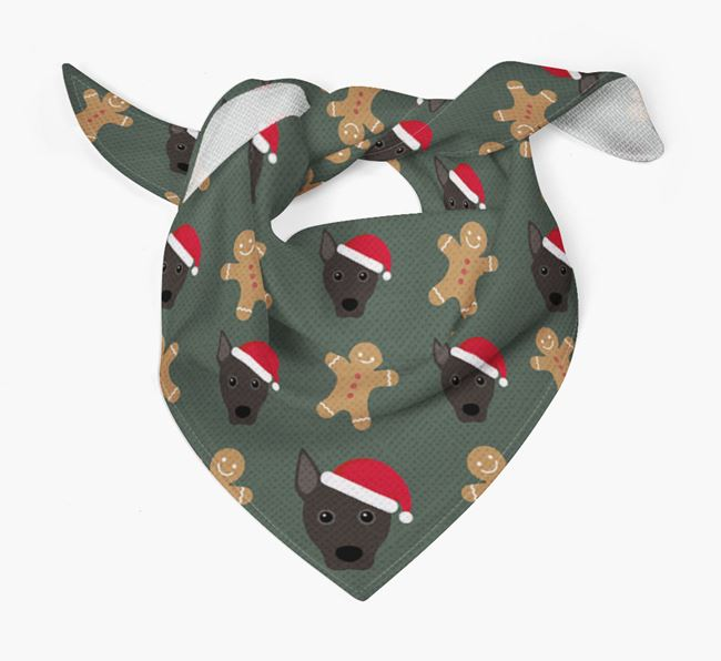 Gingerbread Pattern Christmas Bandana for your Portuguese Podengo