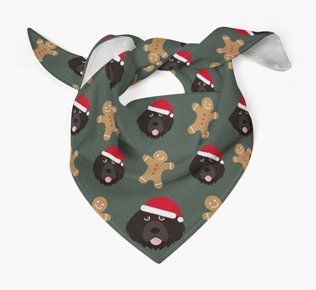 Gingerbread Pattern Christmas Bandana for your Portuguese Water Dog