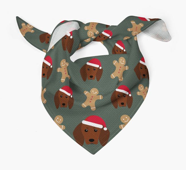 Gingerbread Pattern Christmas Bandana for your Redbone Coonhound