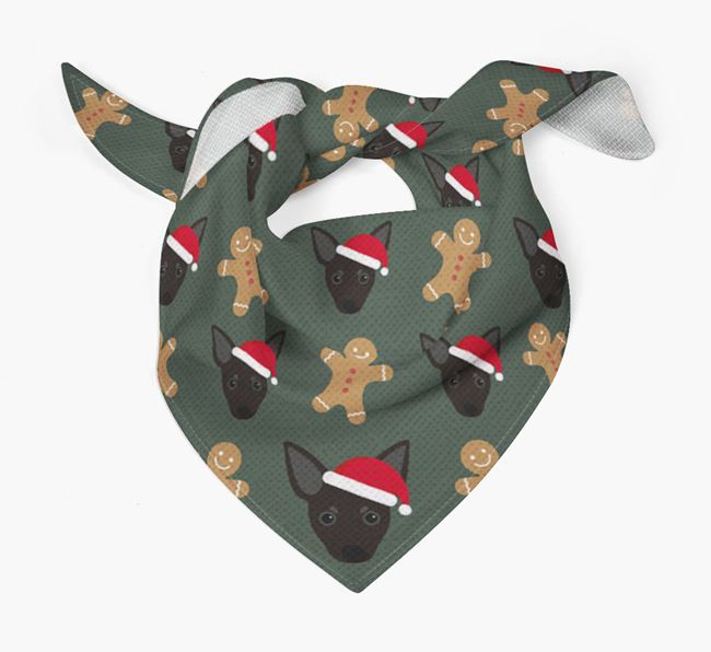 Gingerbread Pattern Christmas Bandana for your Russian Toy